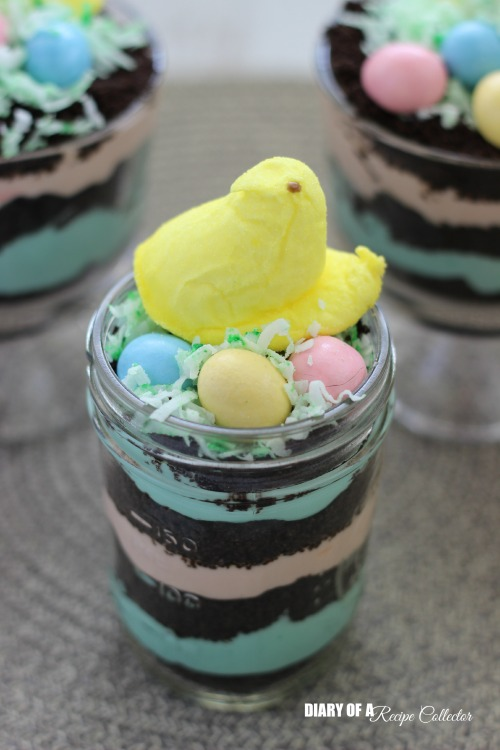Easter Peeps Dirt Pudding Cups in a jar