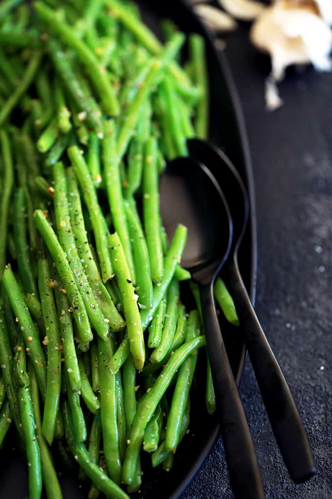 Garlic Butter Green Beans in a serving dish