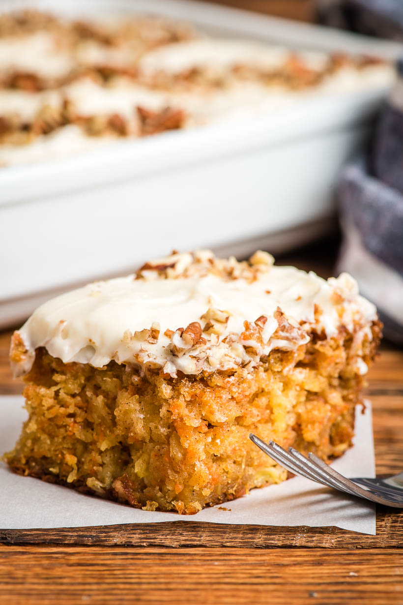 Super Moist Carrot Sheet Cake with Cream Cheese Frosting.