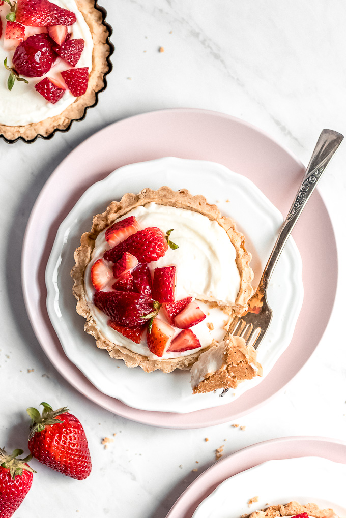 Top view of a Strawberry Tartlet with a fork full taken out and resting on the side of the plate.