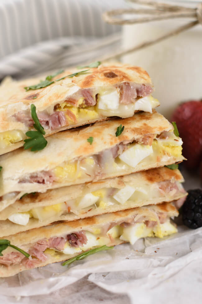 Ham and Cheese Breakfast Quesadillas
