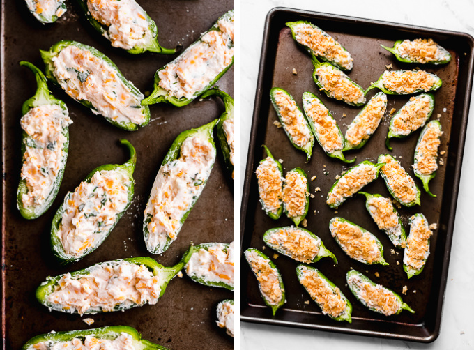 Halved jalapeños on a baking sheet stuffed with a cheese filling and sprinkled with a crunchy cracker topping.