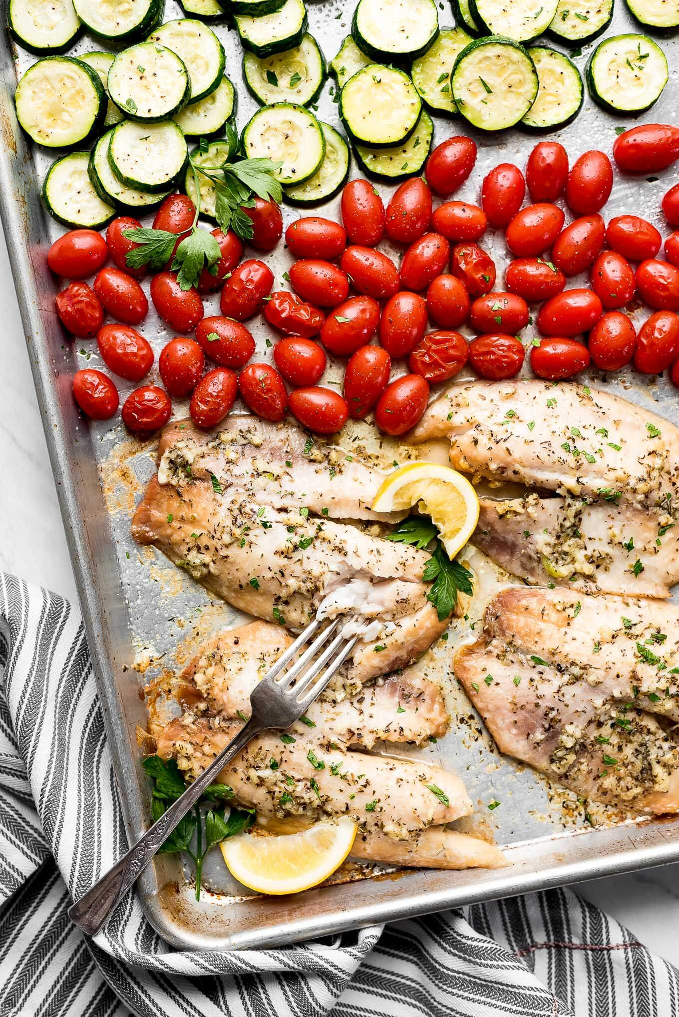 Sheet Pan Italian Baked Tilapia Garnish Glaze