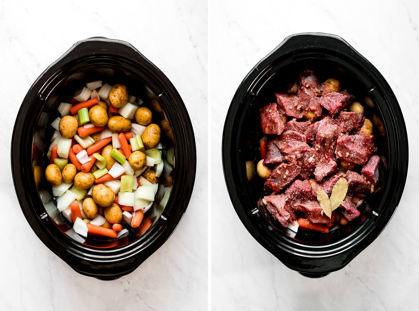 Photo collage: A slow cooker with potatoes, carrots, onions, and celery; a slow cooker with beef chunks on top of vegetables.