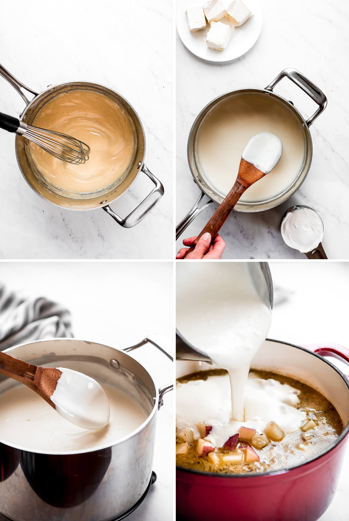 Process shots of making a thick and creamy béchamel sauce and adding it to a pot of potatoes and broth.