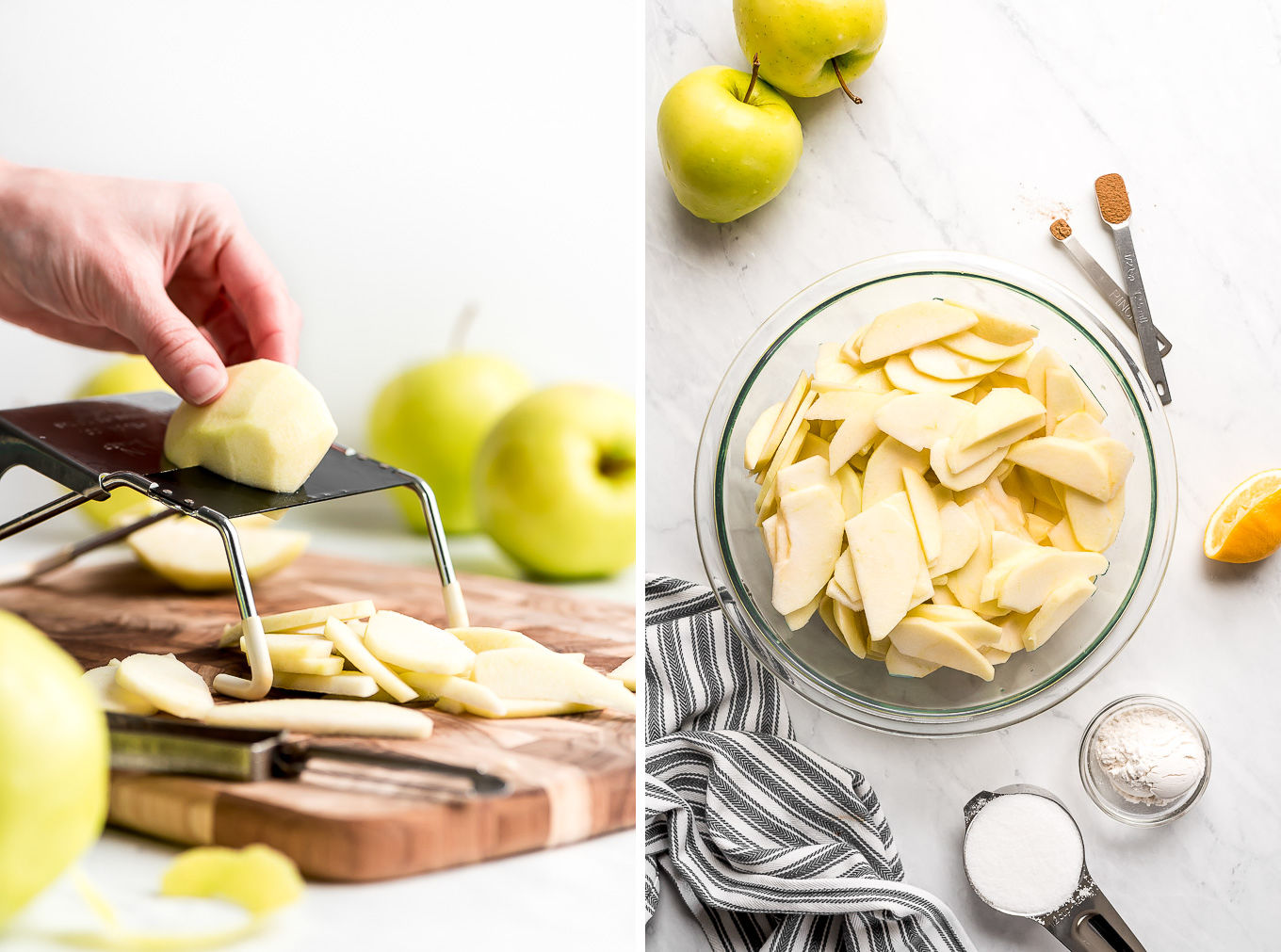 Slicing apples on a mandoline and sliced apples in a bowl.