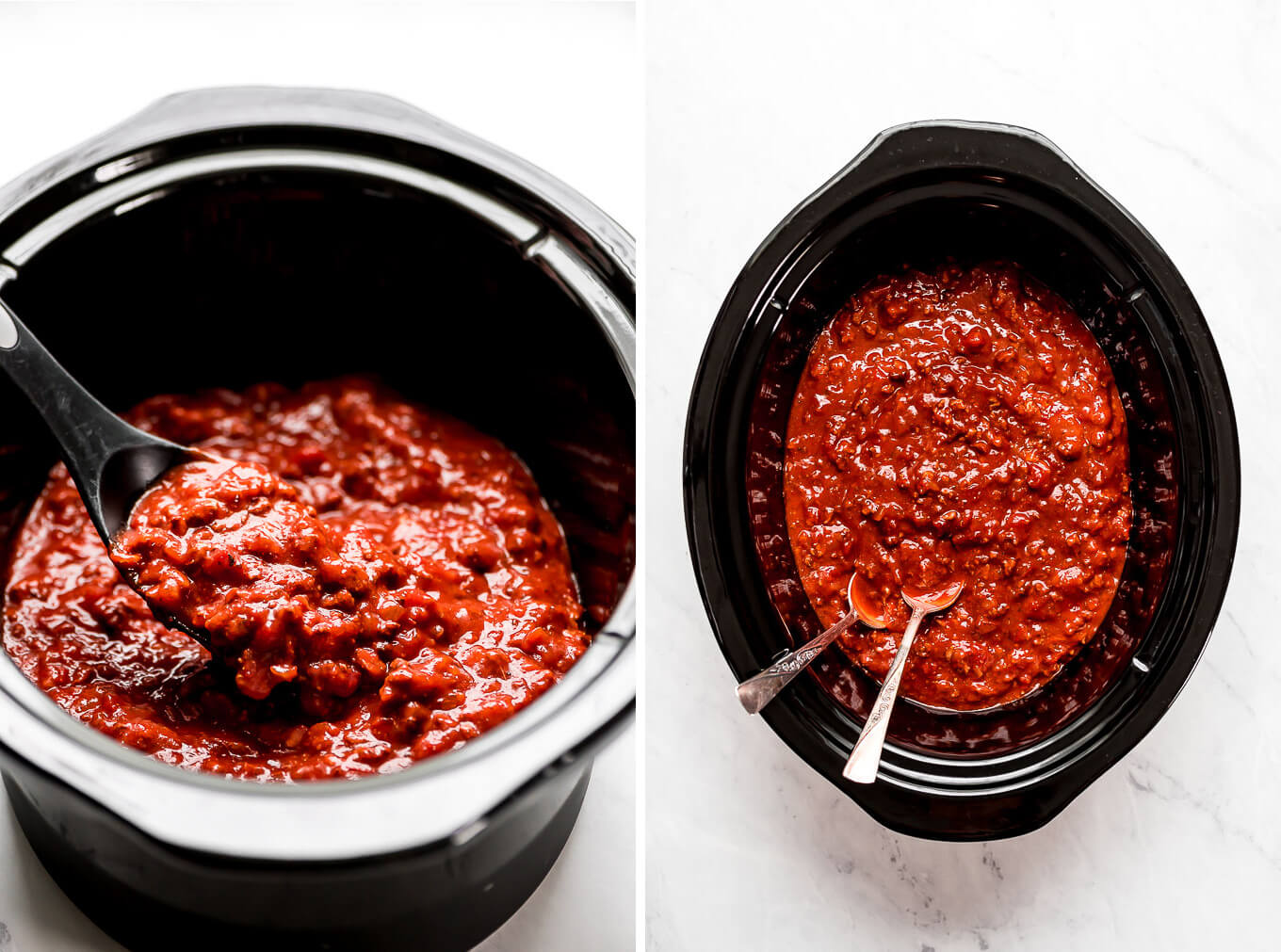 A close up shot of meat loaded spaghetti sauce in a slow cooker.