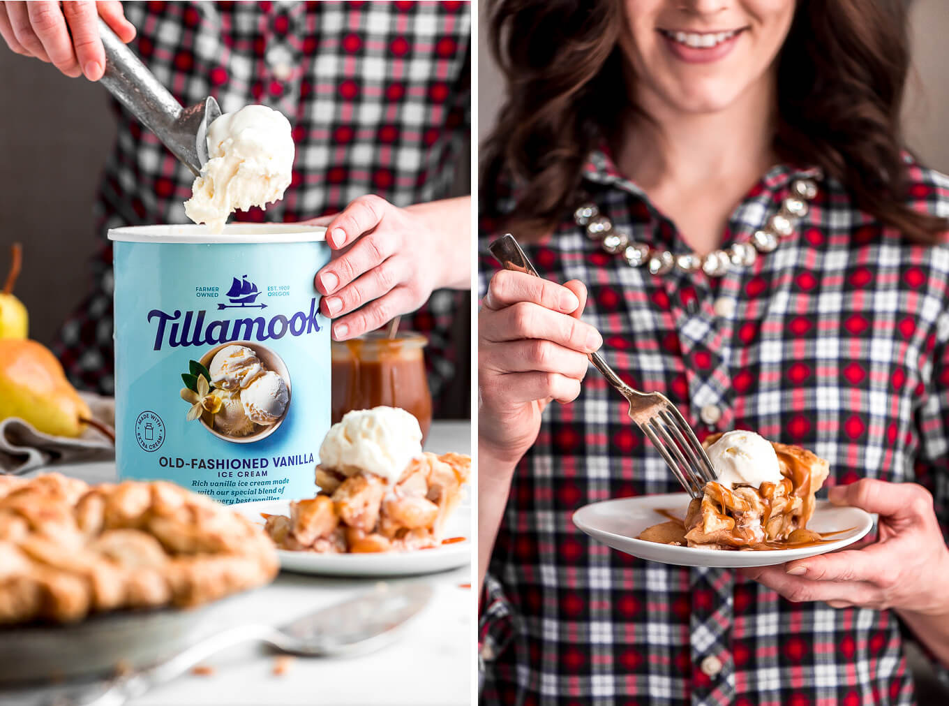Scooping vanilla ice cream out of the carton; holding a plate of pie and digging in with a fork.
