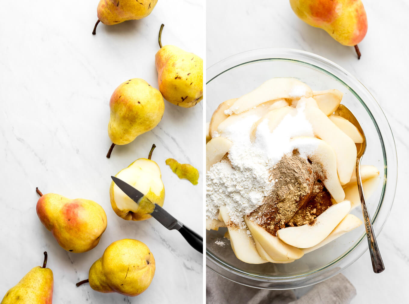 Pears on a marble surface with one being pealed using a knife. A bowl sliced pies, flour, sugar, and spices.