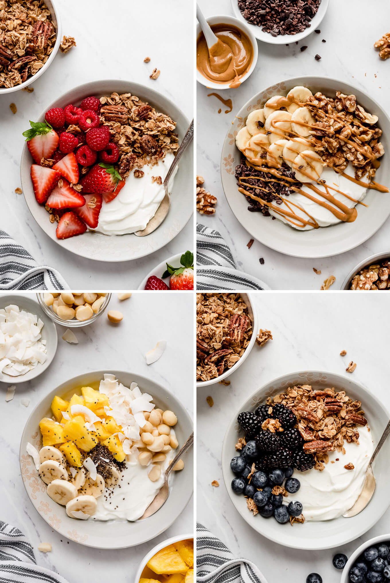 Four photos of yogurt bowls: Red Berry Yogurt Bowl, Chunky Monkey Yogurt Bowl, Tropical Yogurt Bowl, Black and Blue Yogurt Bowl.