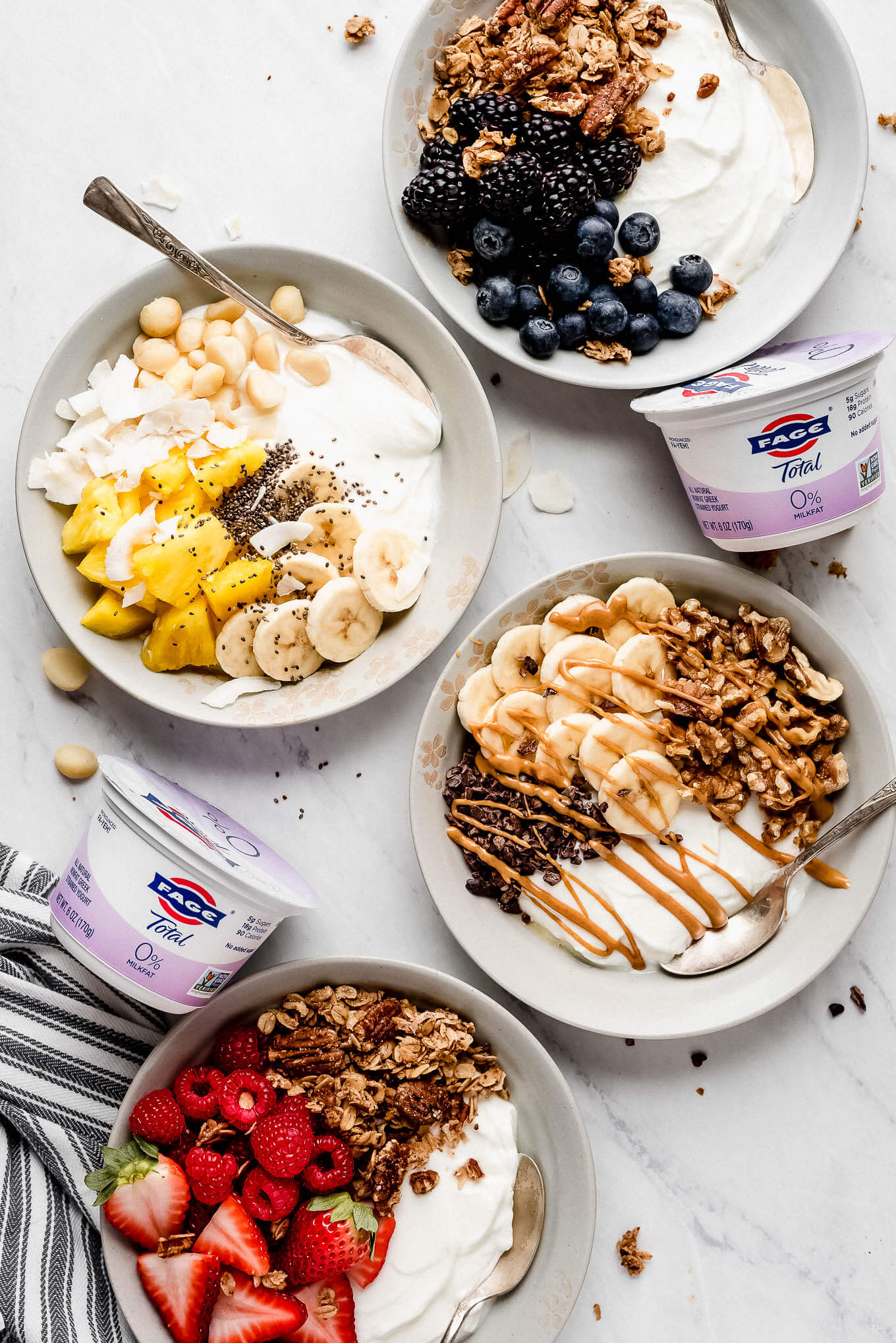 Blueberry yogurt bowl, Tropical yogurt bowl, chunky monkey yogurt bowl, and red berry yogurt bowl.