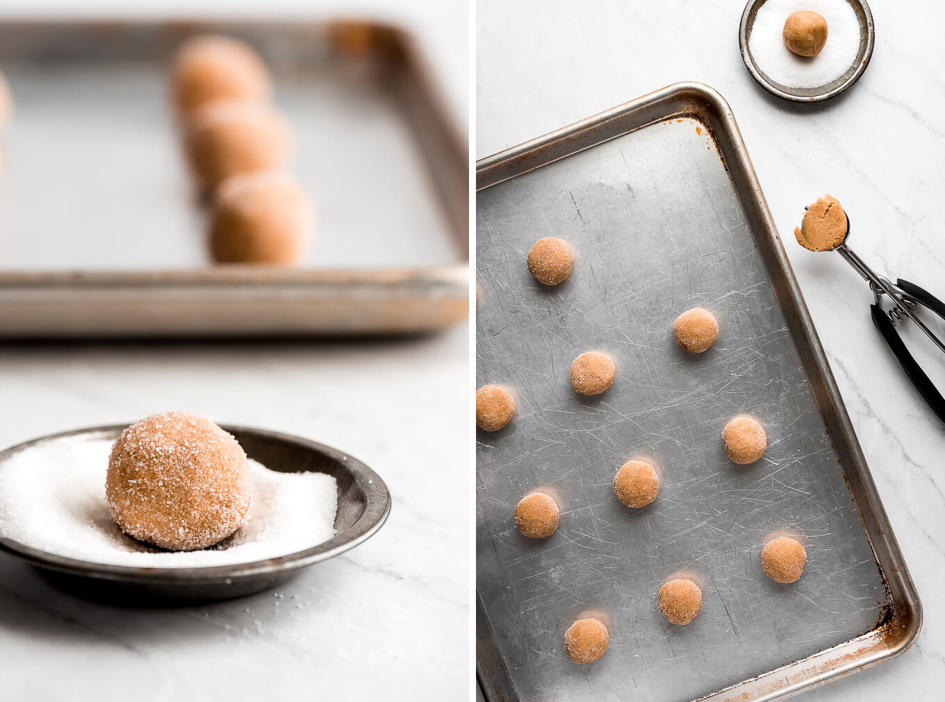 Rolling balls of cookie dough in sugar and balls of cookie dough on a baking sheet.