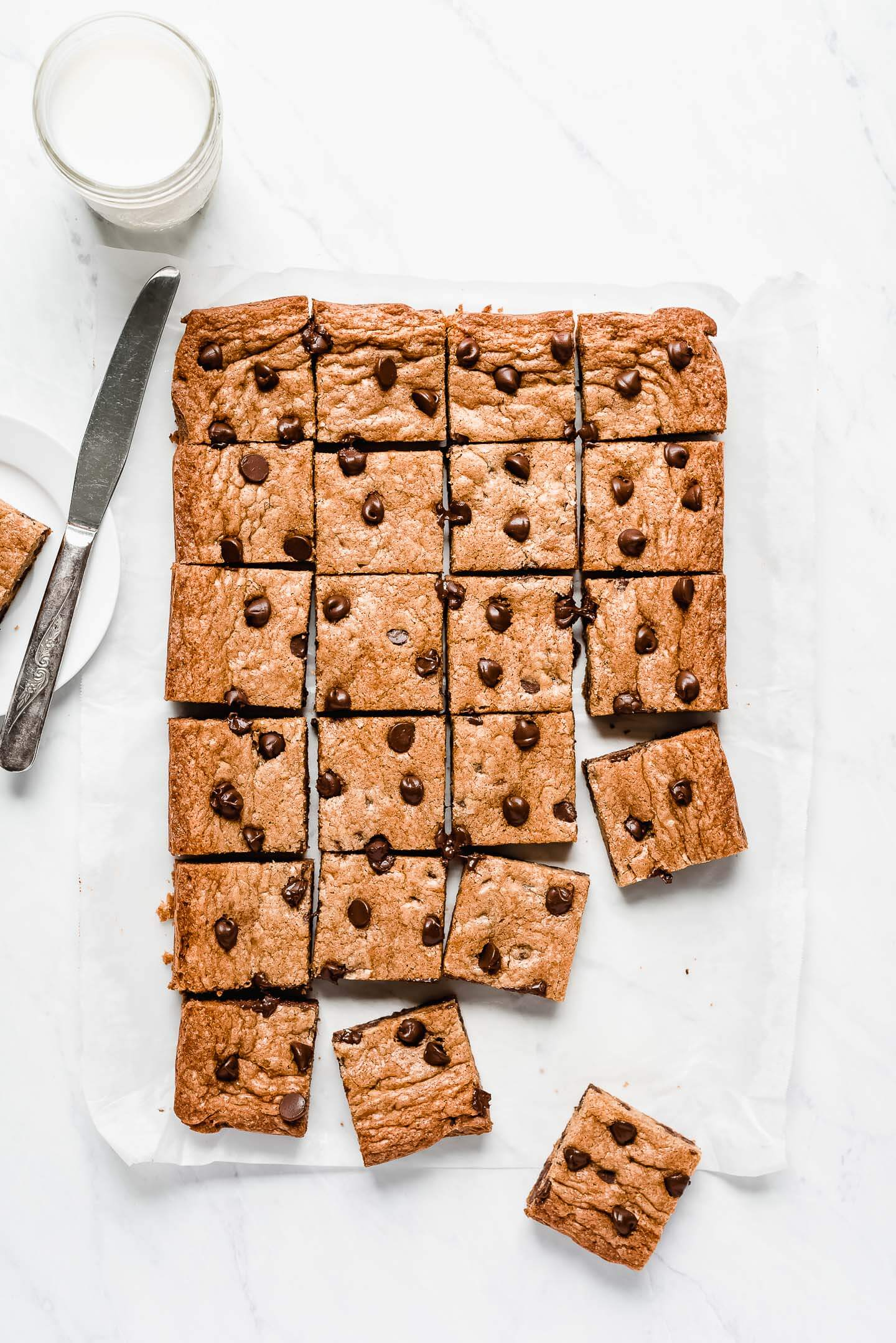 Cookie Bars cut into squared and studded with chocolate chips.