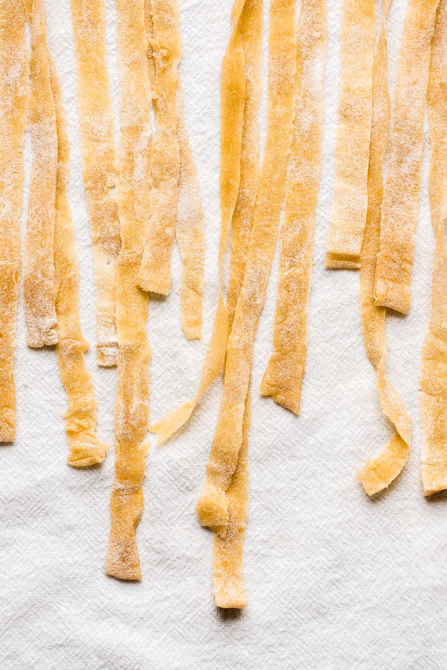 The ends of long egg noodles on a tea towel dusted in flour.