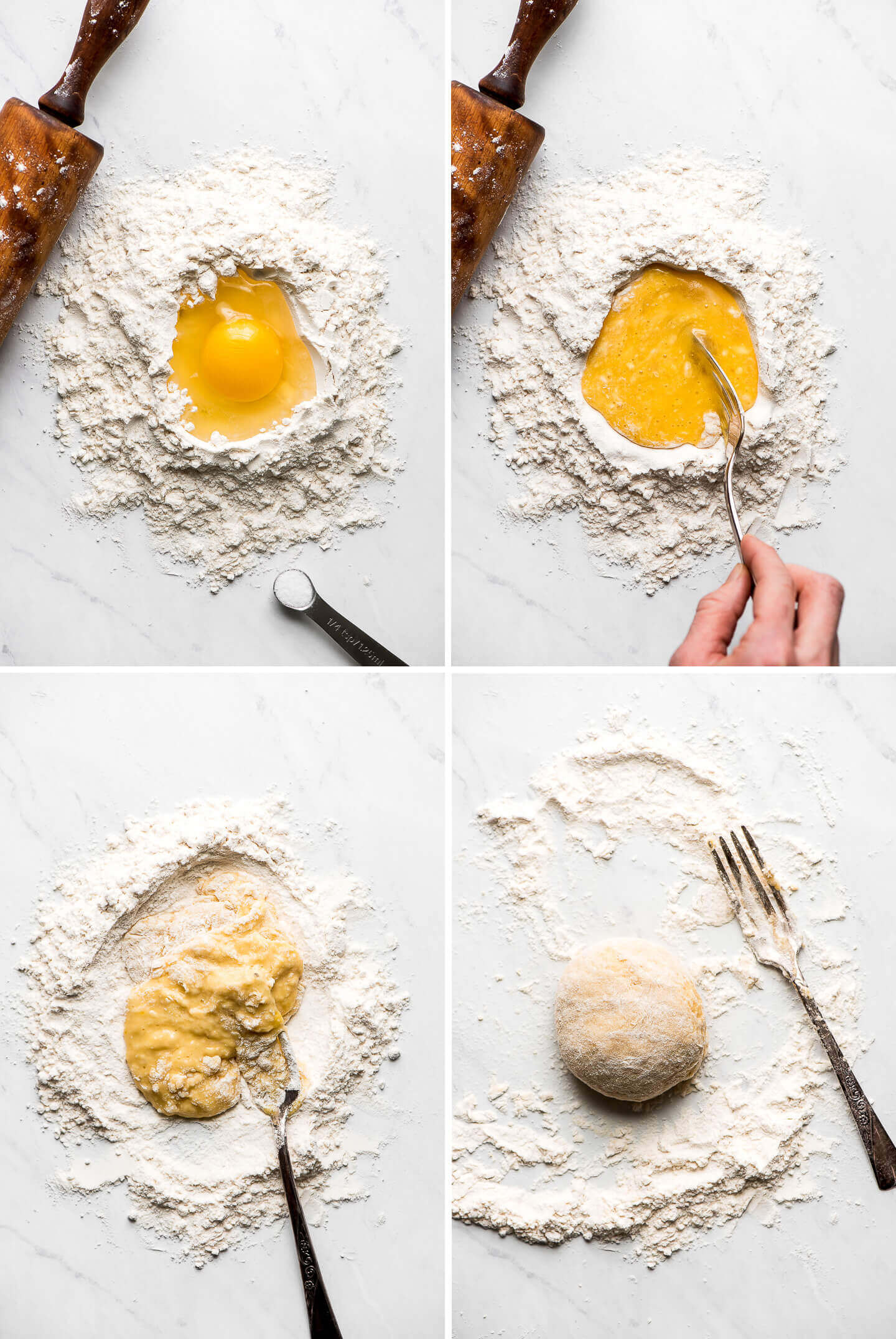 Mixing an egg and salt into flour on a marble surface to form a dough.