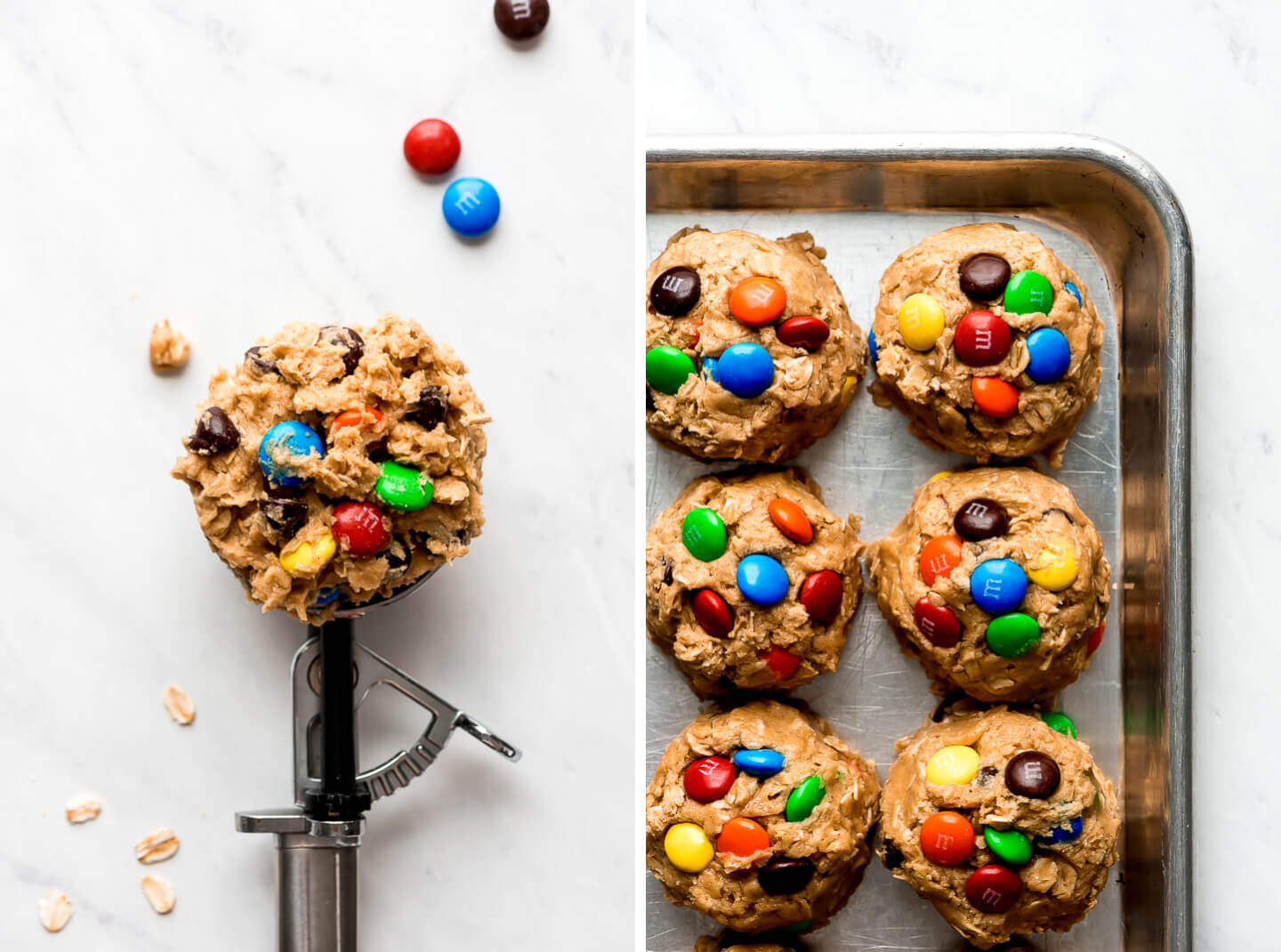Peanut butter cookie dough with chocolate chips and M&M's in a trigger scoop and in balls on a baking sheet.