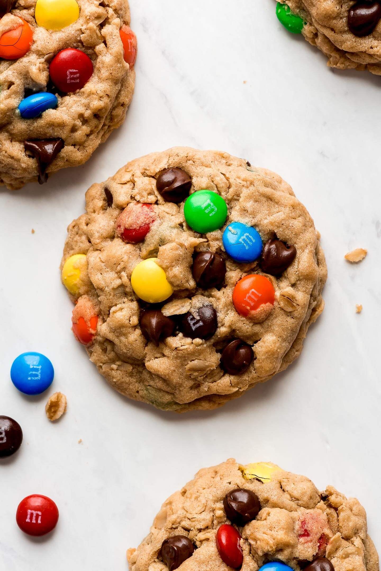A peanut butter oatmeal cookie studded with M&M's and chocolate chips.