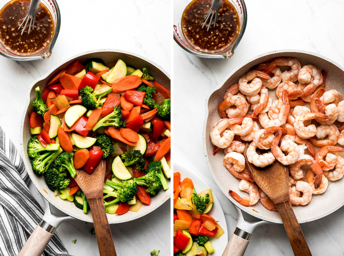 Cooked vegetables in a pan and cooked shrimp in a pan.