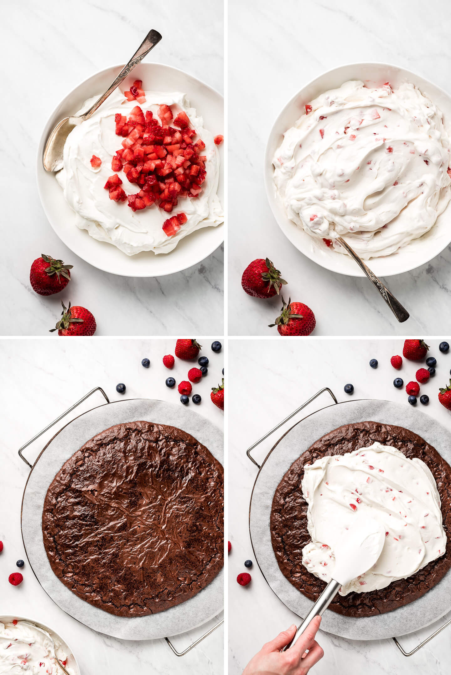 Process shots of mixing strawberries into the whipped cream and cream cheese mixture and then spreading it over the cooked and cooled brownie on the pizza stone.