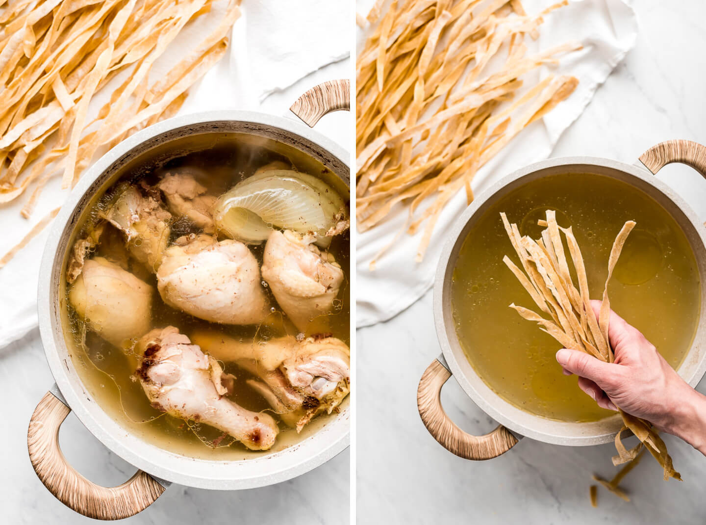 A pot of bone-in skin-on chicken cooked in broth and a pot of chicken broth with a hand holding dried egg noodles to drop in.