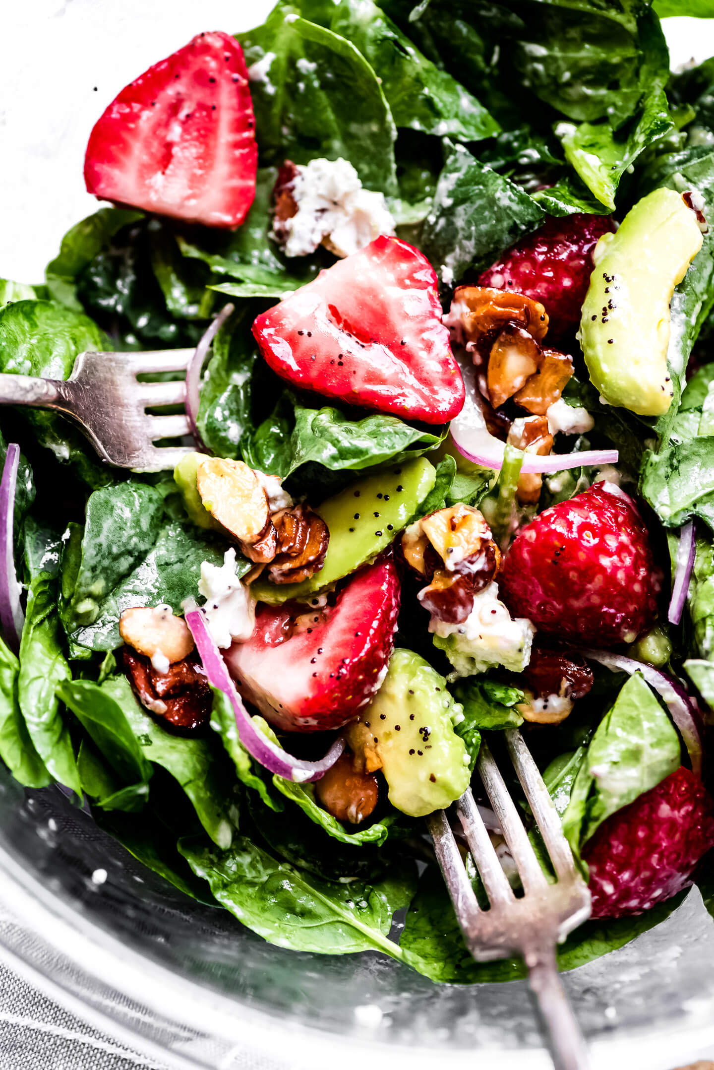 A Strawberry Spinach Salad tossed in a homemade poppy seed dressing.