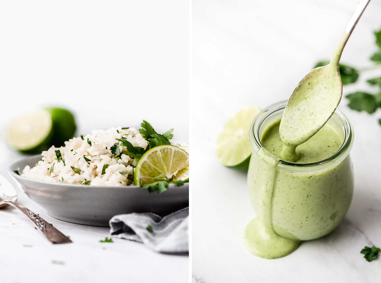 Diptych- Cilantro Lime Rice in a gray bowl with lime wedges in the side; a jar of Cilantro Lime dressing with a spoon lifting some out and letting it fall back into the jar.