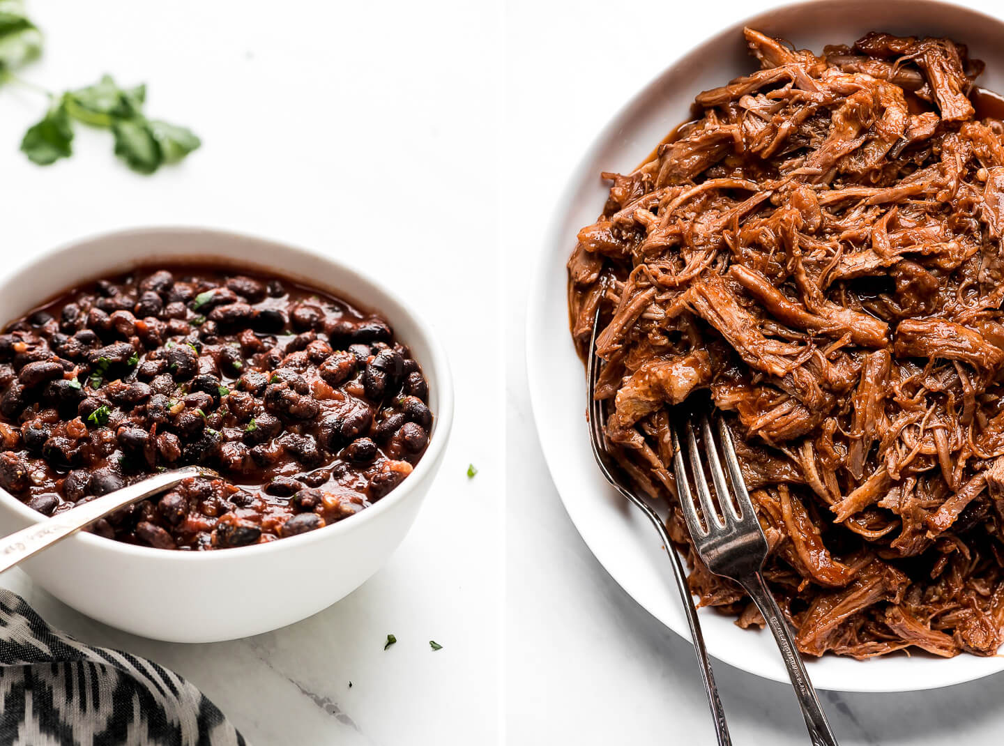 Diptych- A white bowl of seasoned black beans garnished with chopped cilantro; a large bowl of shredded sweet pork with two forks in the side.