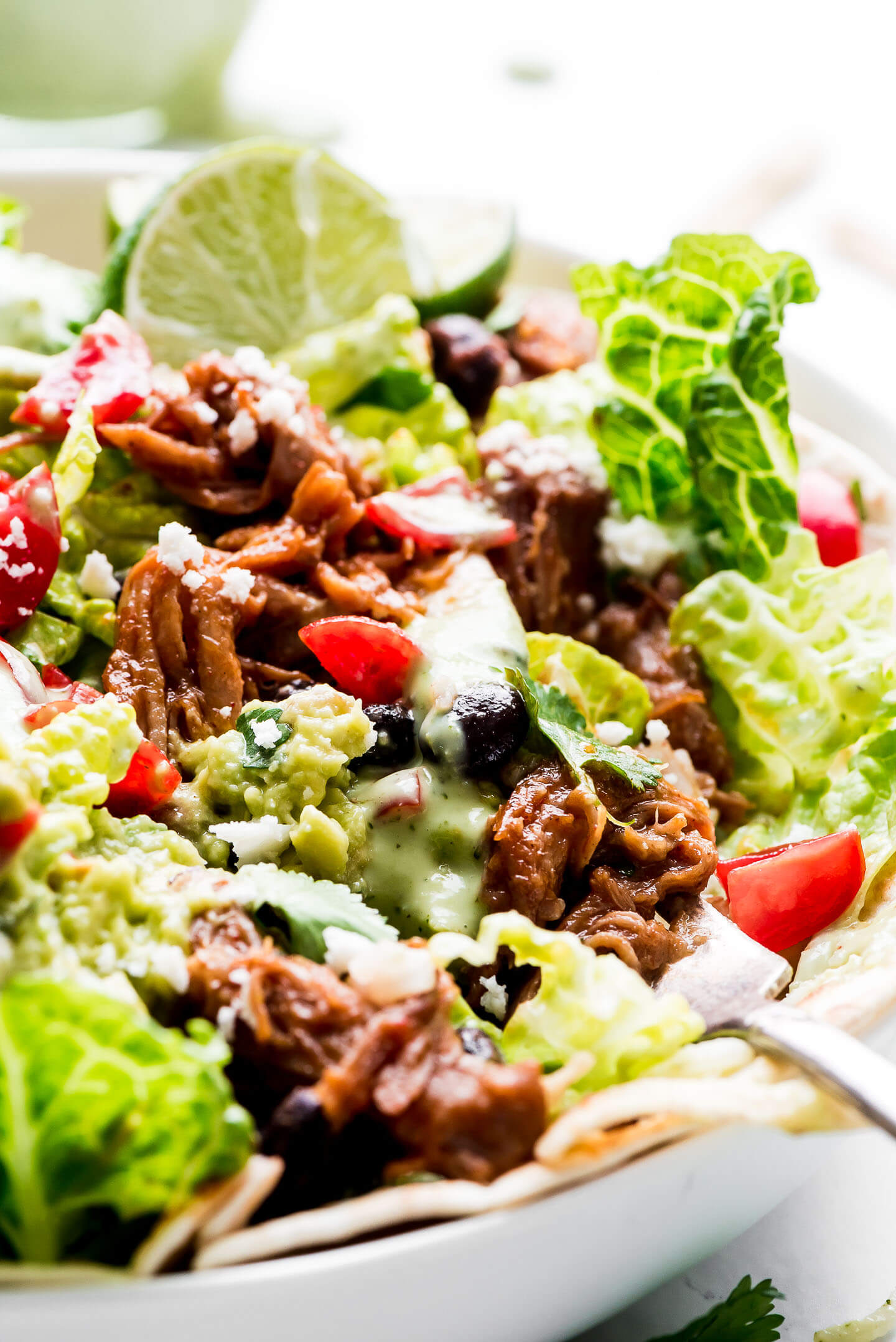 A close-up shot of a fork full of Cafe Rio Salad with pork, beans, guacamole, tomatoes, creamy dressing, and cilantro.