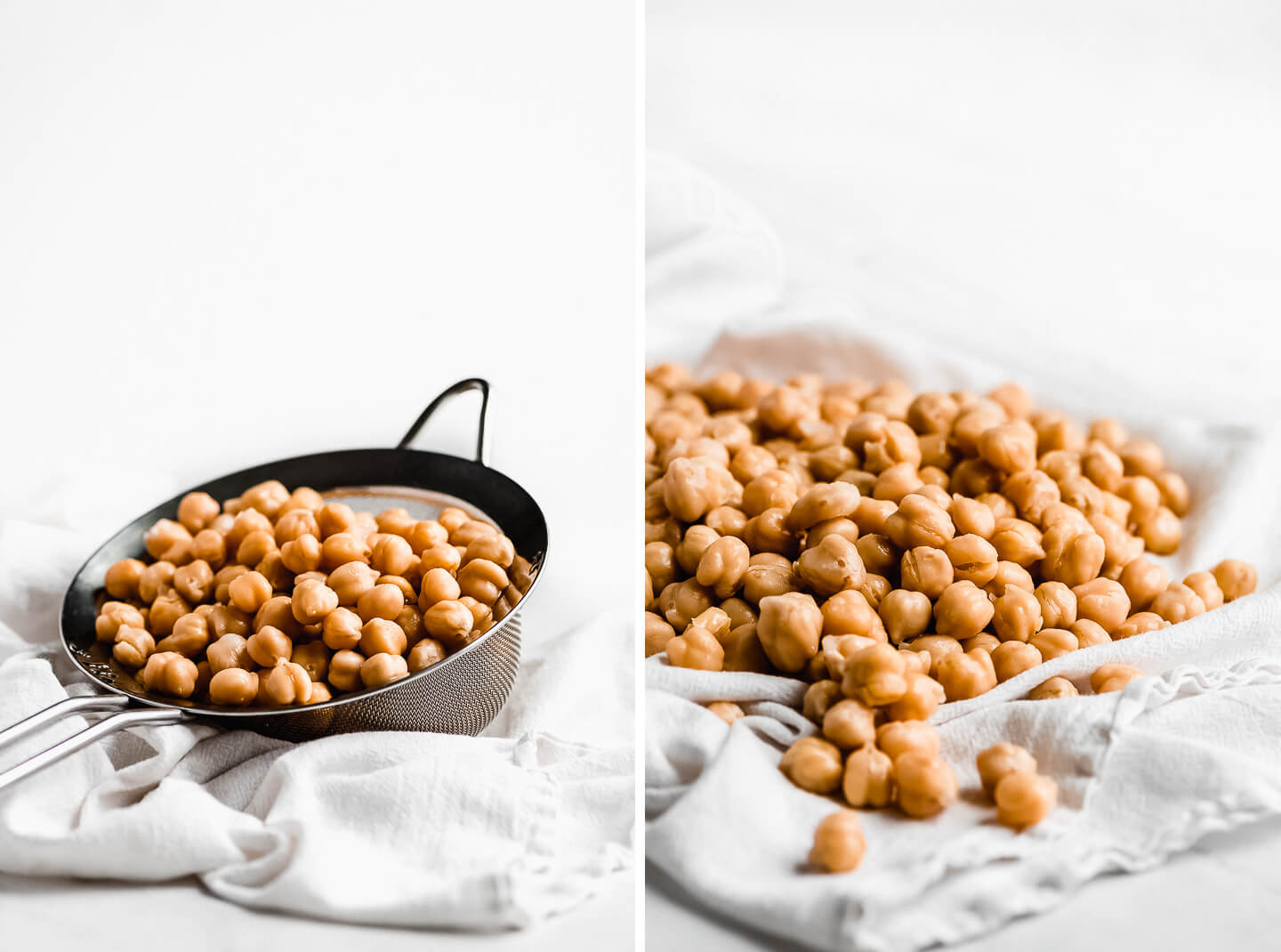 Diptych- Canned chickpeas in a mesh strainer sitting on a white towel. Chickpeas laying on a white kitchen towel to dry.