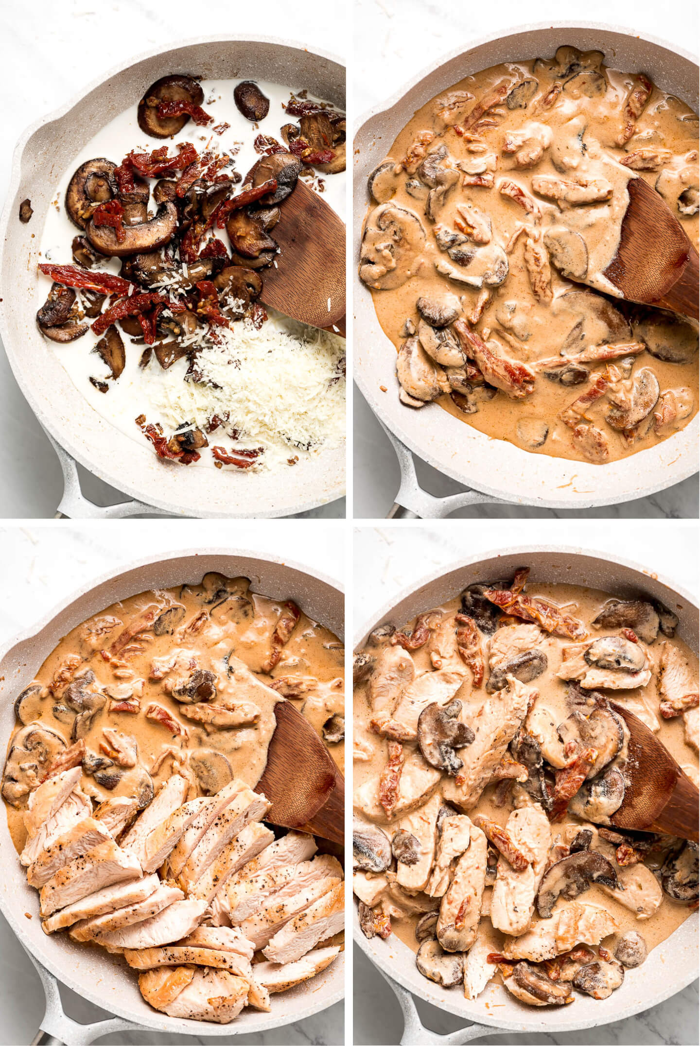 4 photos showing a mushroom, sun dried tomato, chicken cream sauce being made.