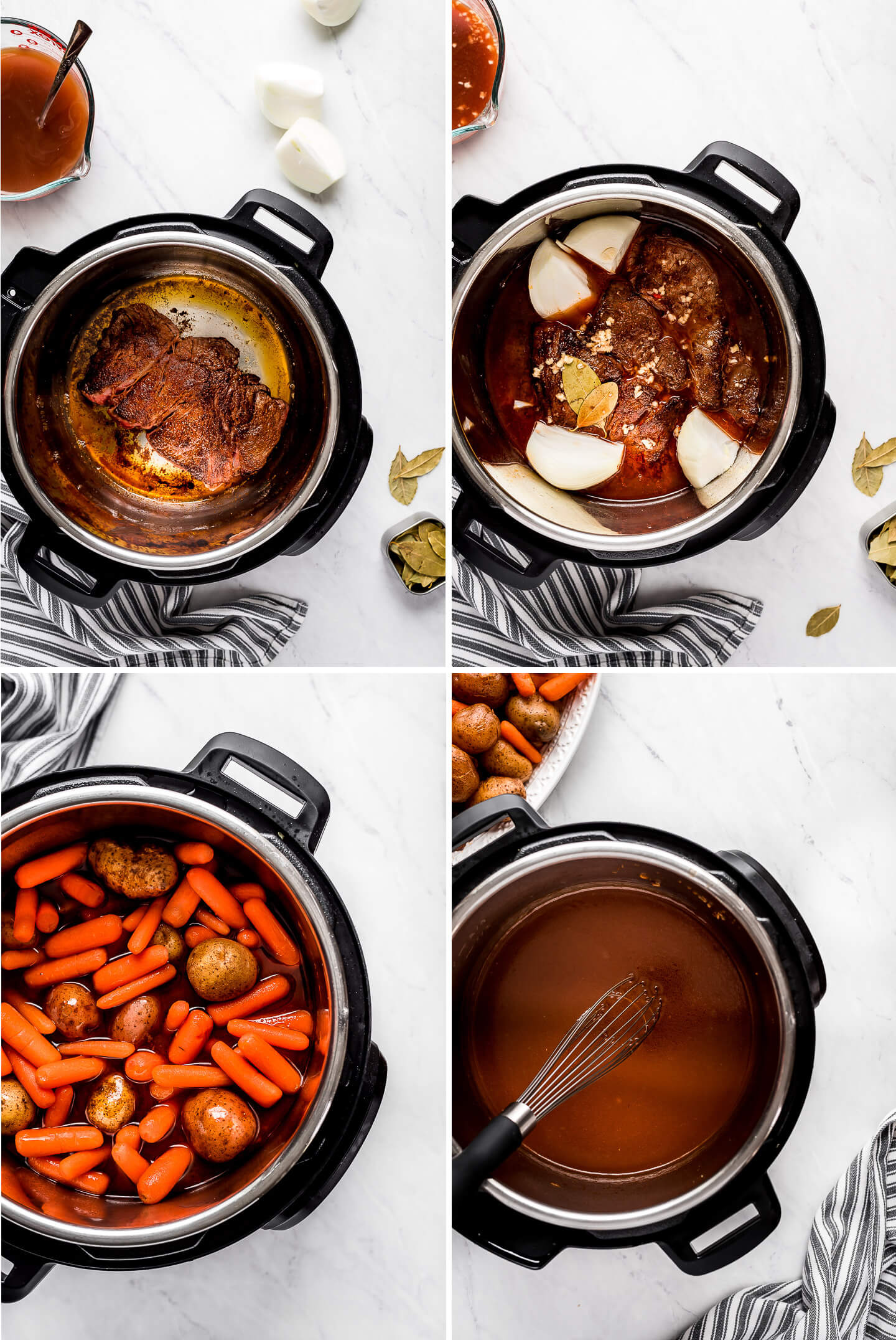 Photo collage of how to make Pot Roast in an Instant Pot.
