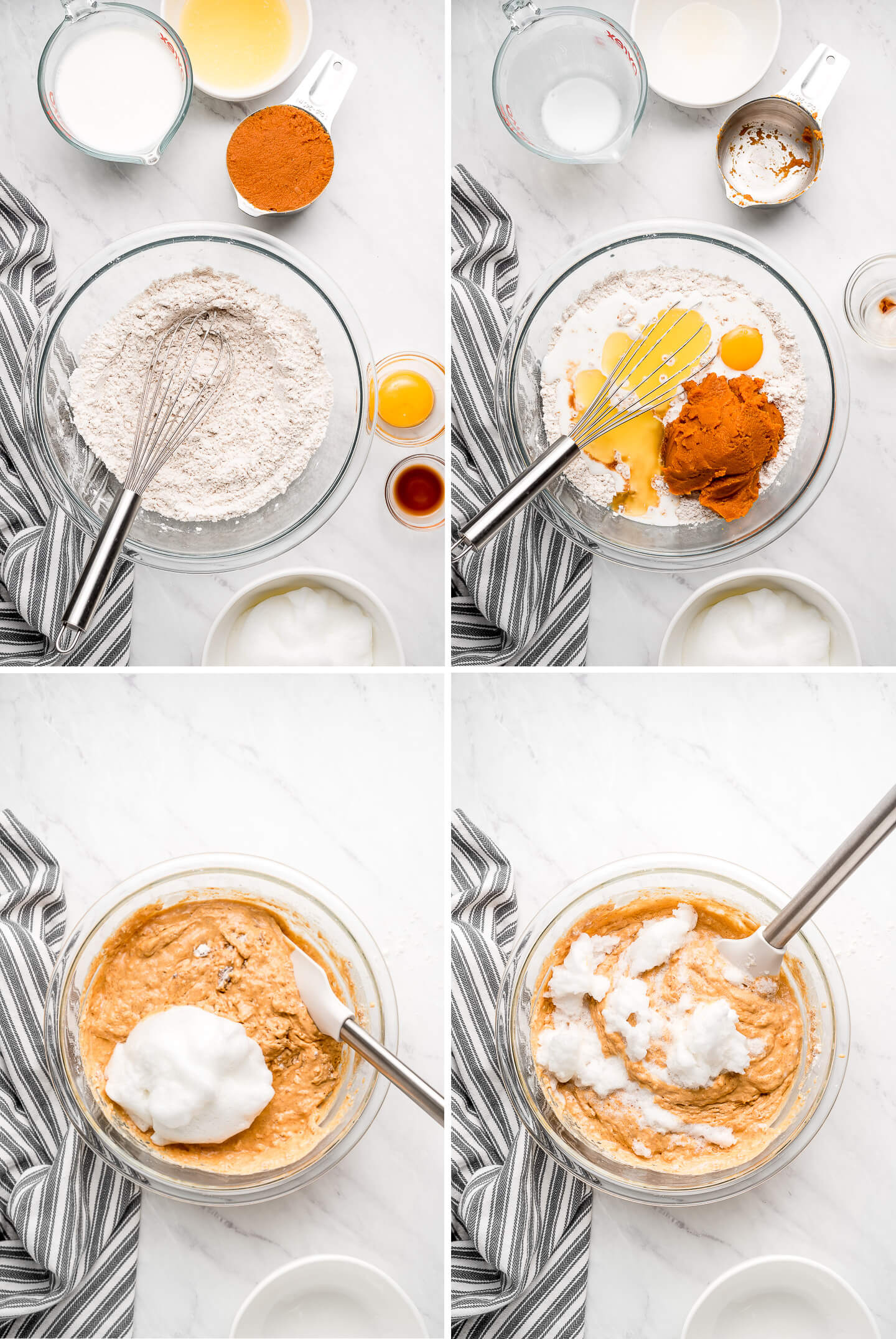 4 photos of mixing together a pumpkin batter and folding in beaten egg whites.