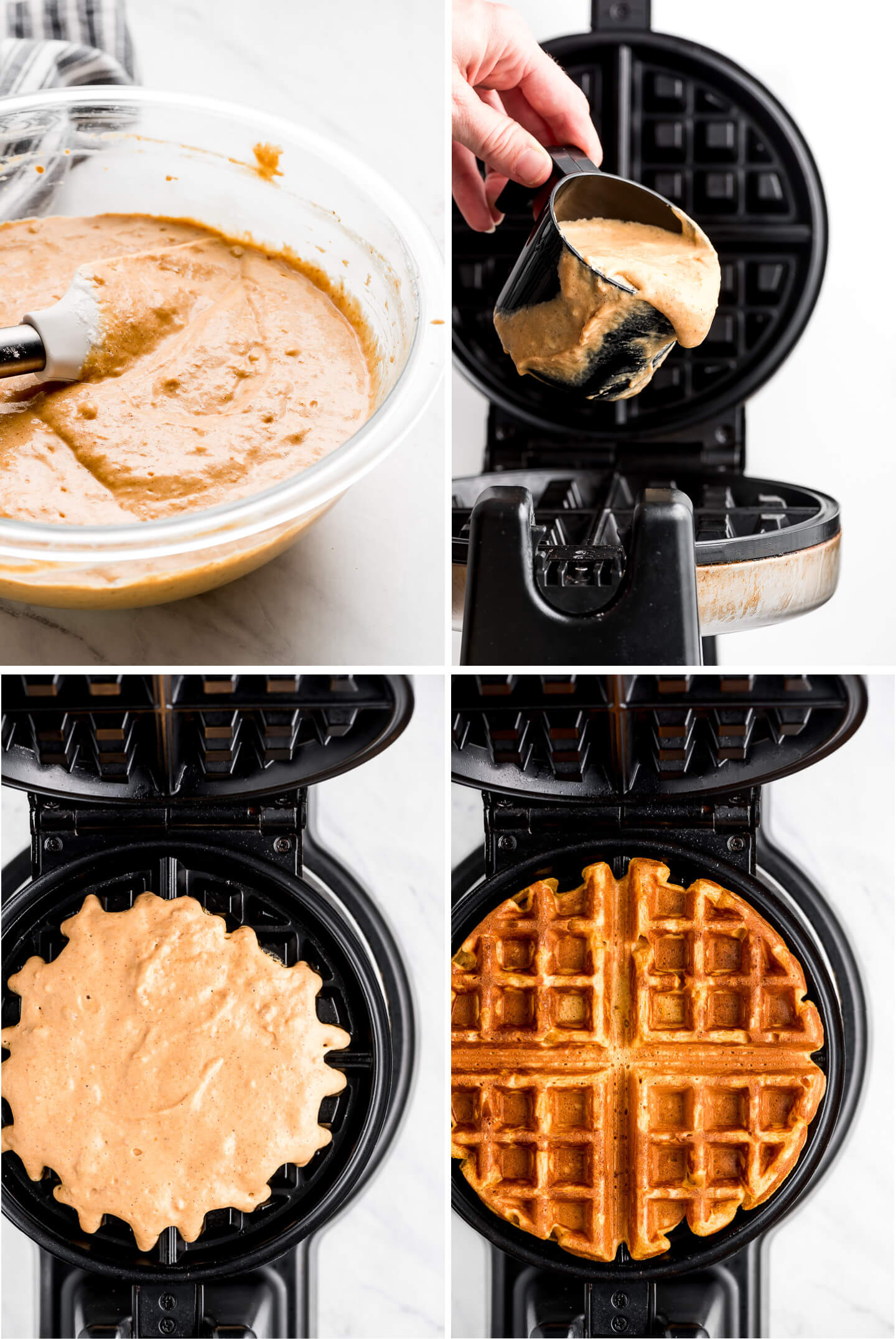 Four photos- waffle batter in a bowl, being poured, in a waffle iron, and cooked.