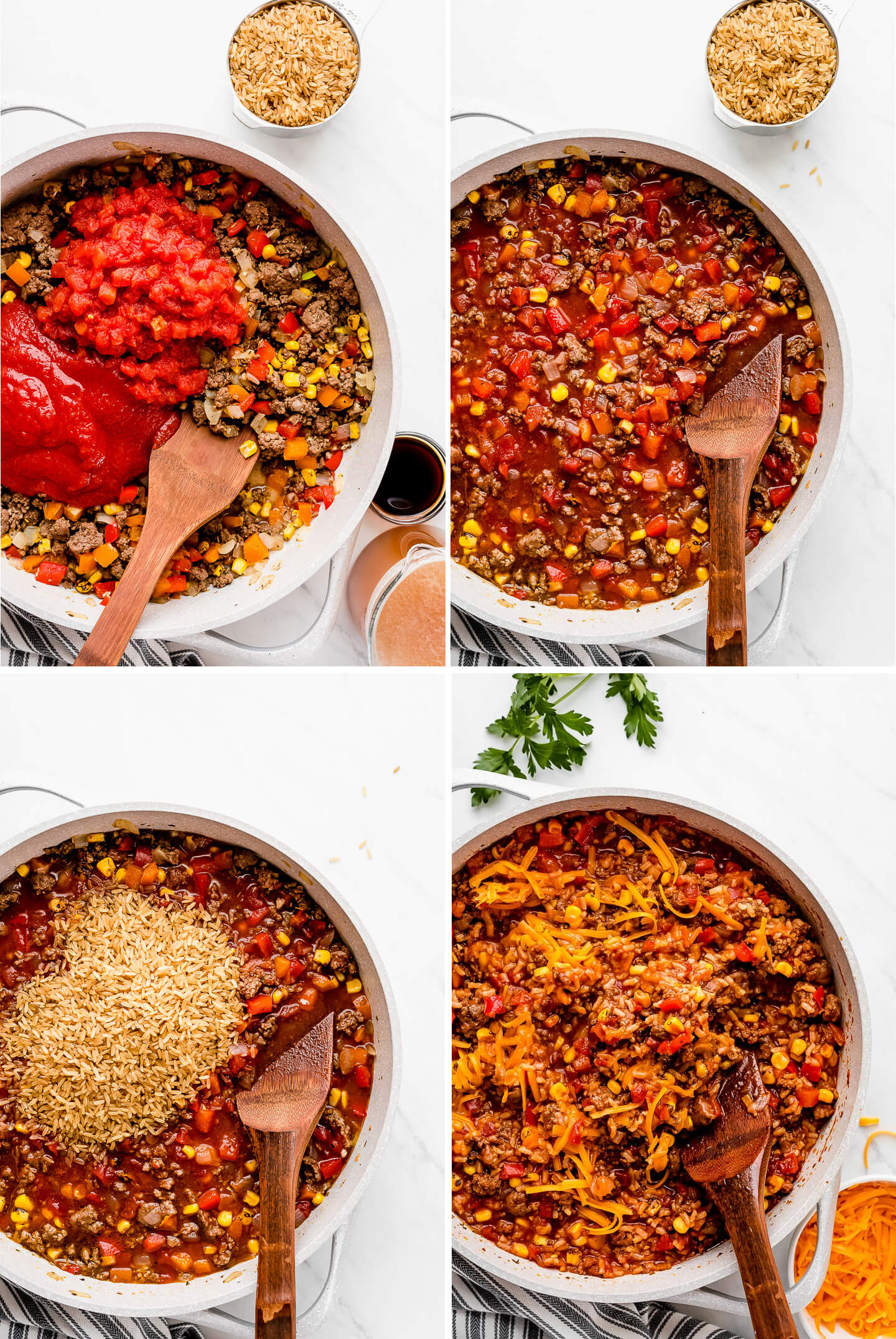 Process shots of how to make a ground beef and rice skillet meal.