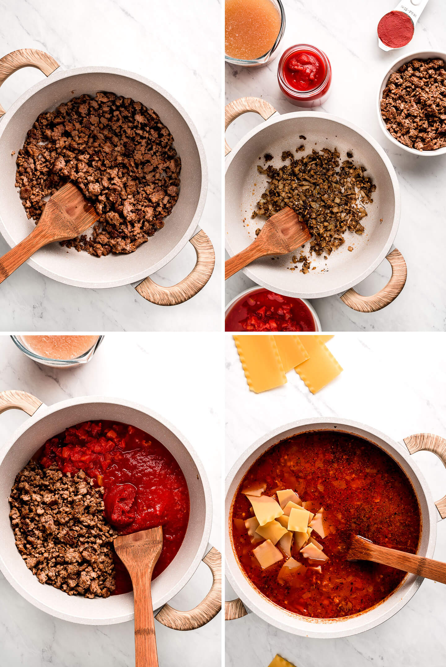 4 photos: browned ground beef in a pot; cooked onions, garlic, and seasonings in a pot; ground beef, tomato sauce and tomatoes in a pot; tomato soup with noodles.
