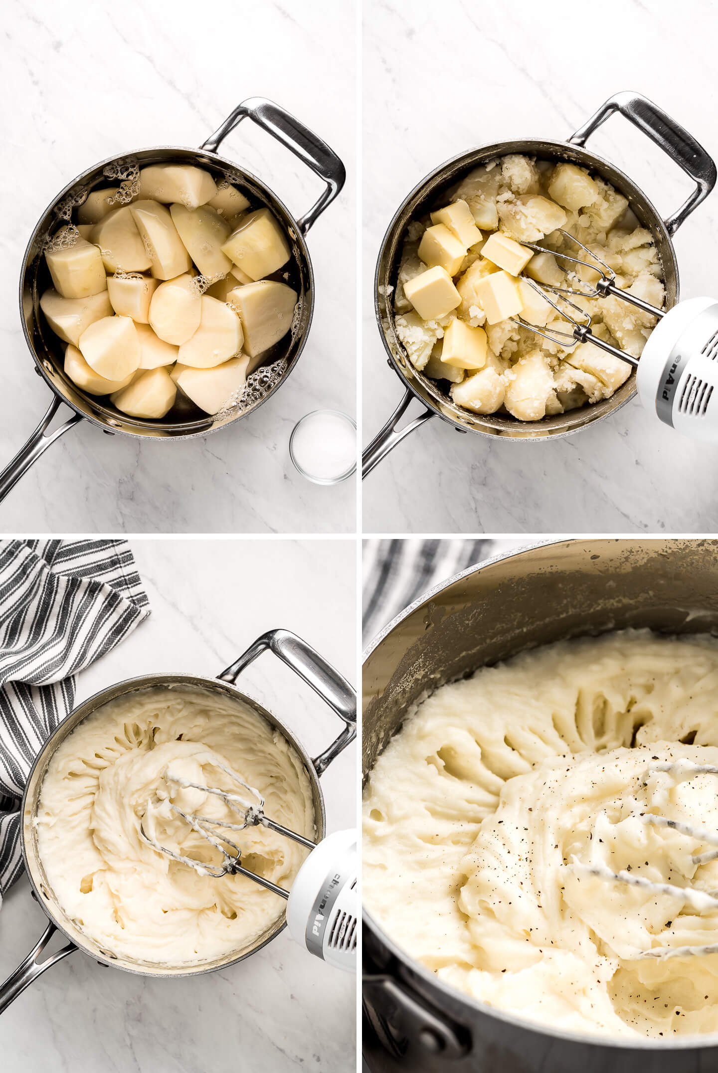Four photos showing how to make homemade mashed potatoes.