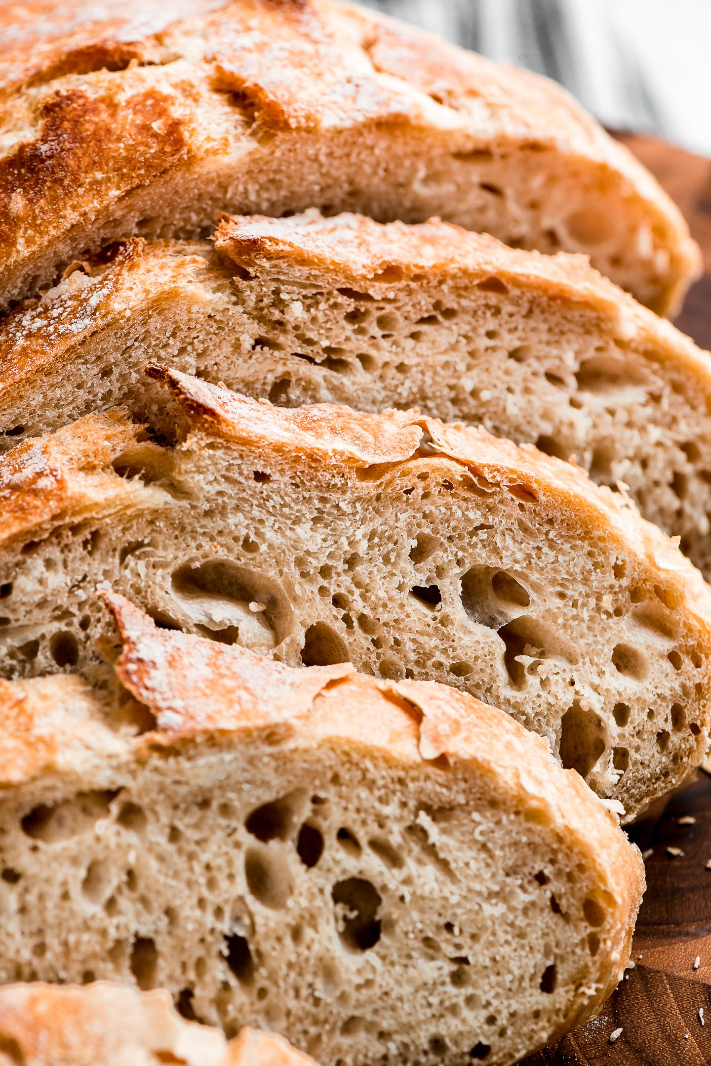 Close up shot of slices of overnight No-Knead Bread.