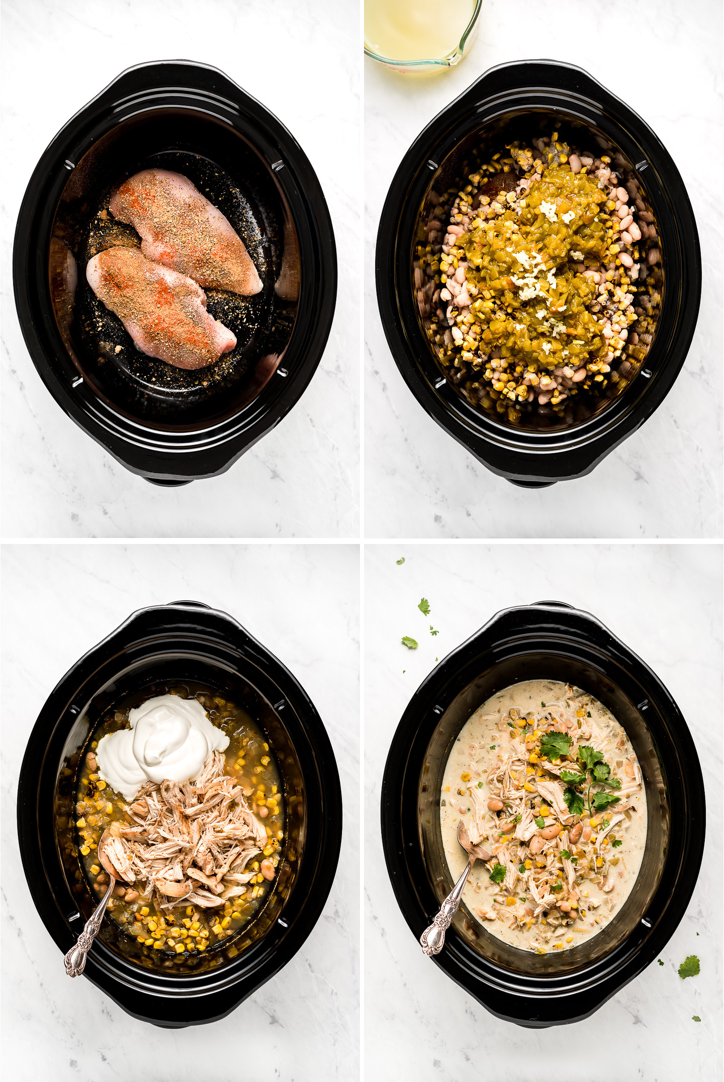 Collage of making white bean chicken chili in a CrockPot Slow Cooker.