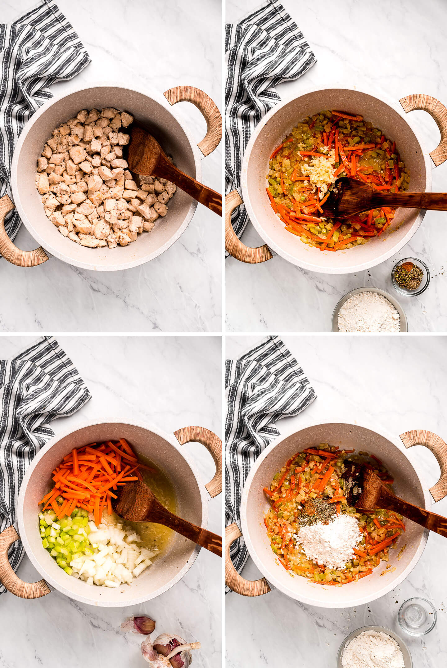 Multiple photos showing how to cook bite size chicken and vegetables for soup.