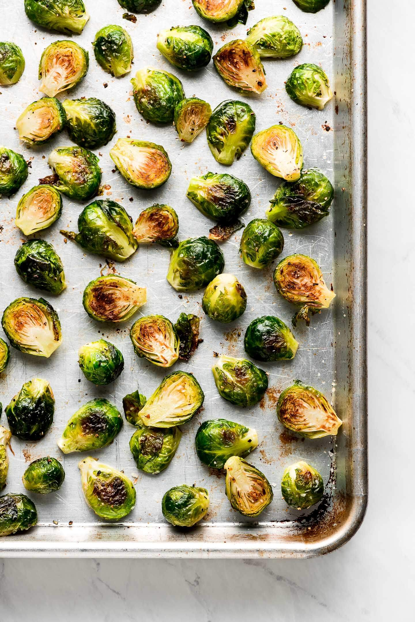 Roasted Brussel Sprouts on a baking sheet.