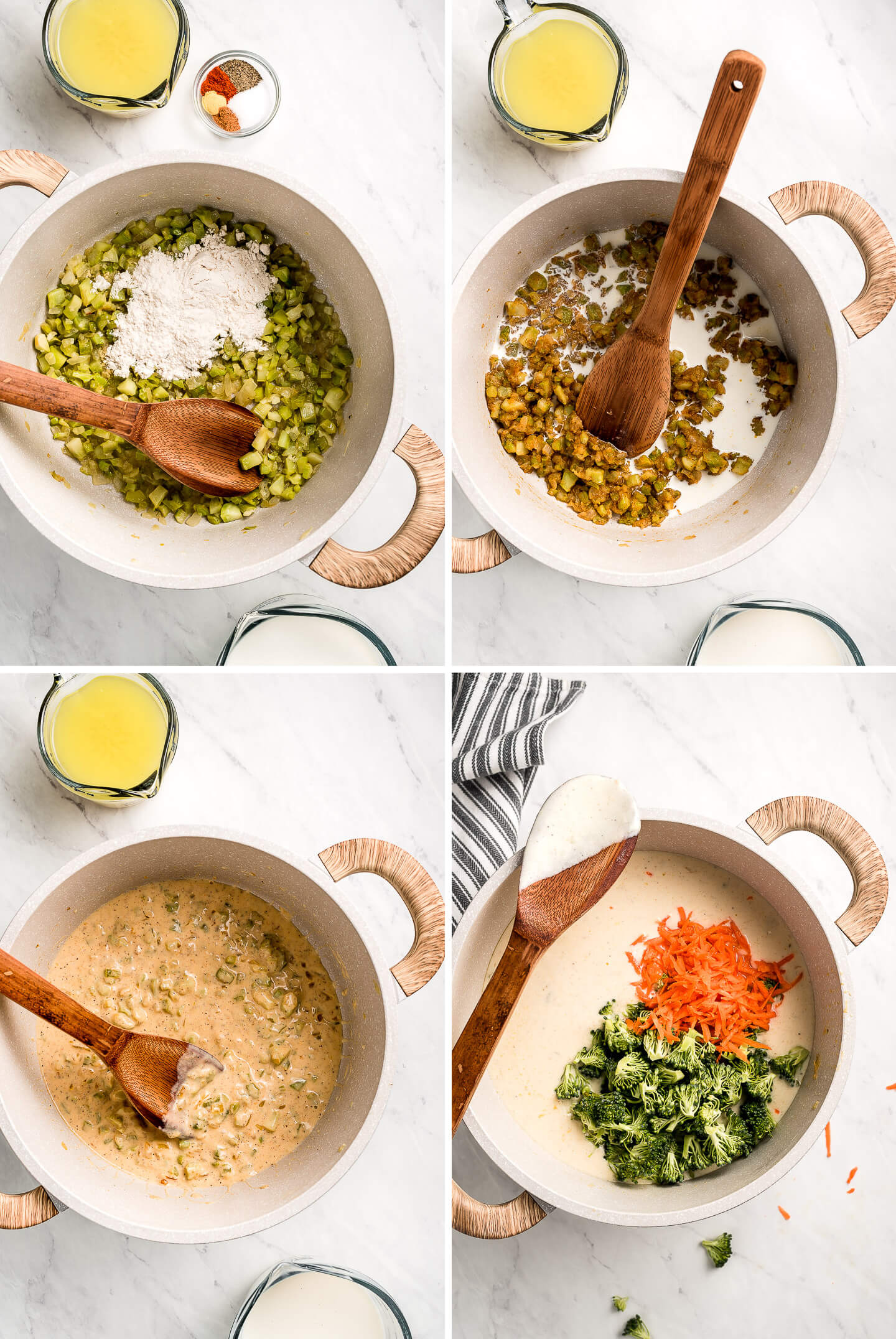 Process shots of making creamy vegetable soup.