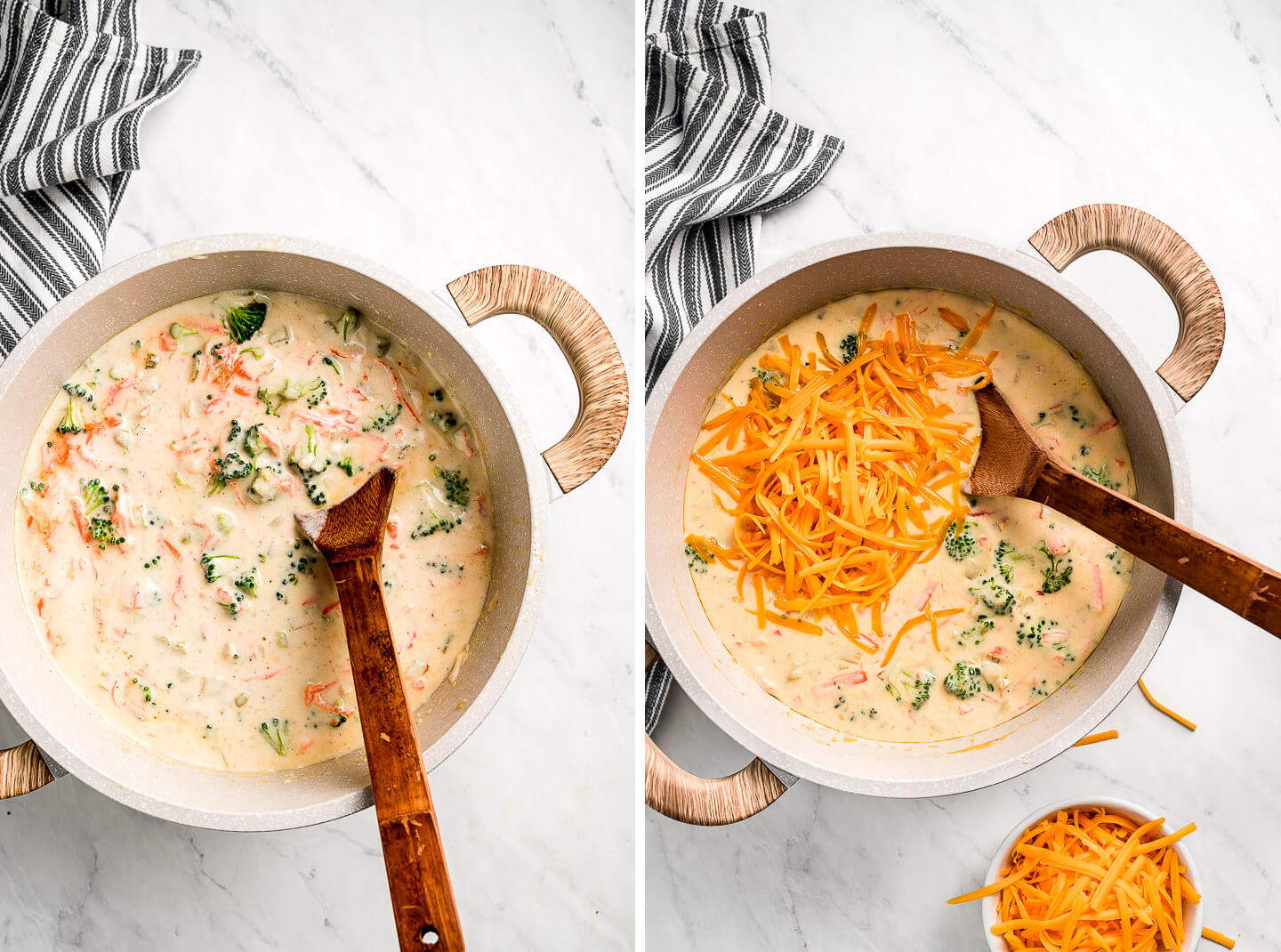 Thick and creamy Broccoli Cheddar Soup in a pot mixing in the shredded cheese.