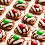 A close up of shot of a Christmas Pretzel Hug on a baking sheet.