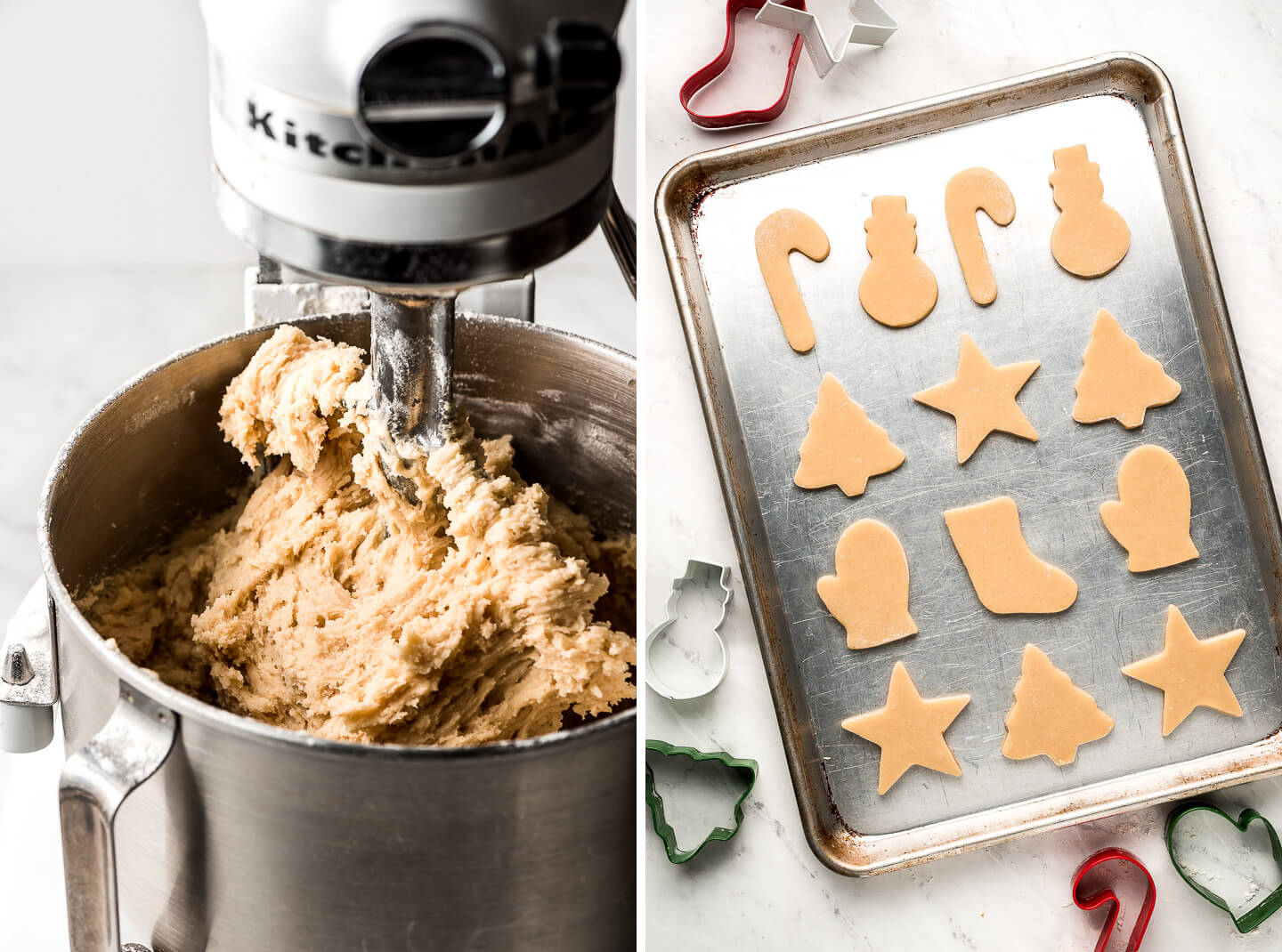 Sugar cookie dough in a KitchenAid mixer and cut out dough on a pan.