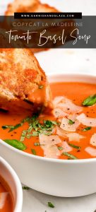 Dipping a grilled cheese sandwich into a bowl of tomato soup topped with basil and parmesan.