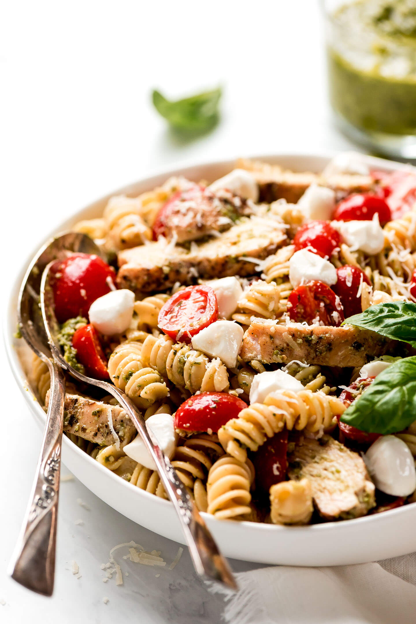 Close up shot of Pesto Pasta Salad.