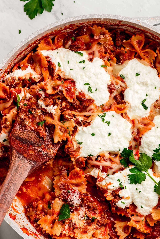 A close up shot of cheesy Skillet Lasagna.