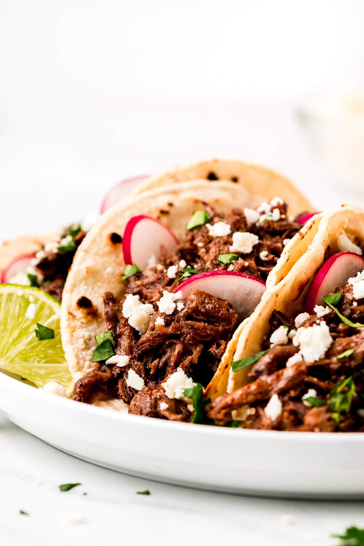 A close up shot of tacos with Beef Barbacoa meat, radishes, cilantro, and cheese.
