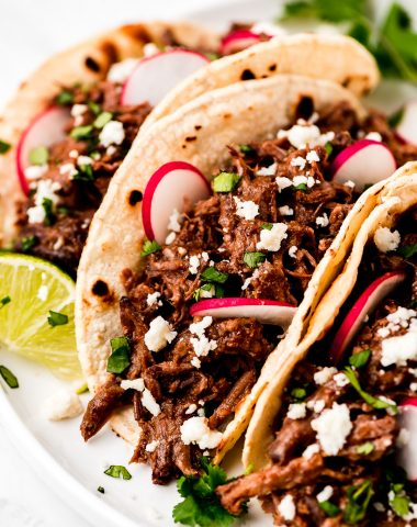 Beef Barbacoa in corn tortillas garnished with cilantro, sliced radishes, and queso fresco.