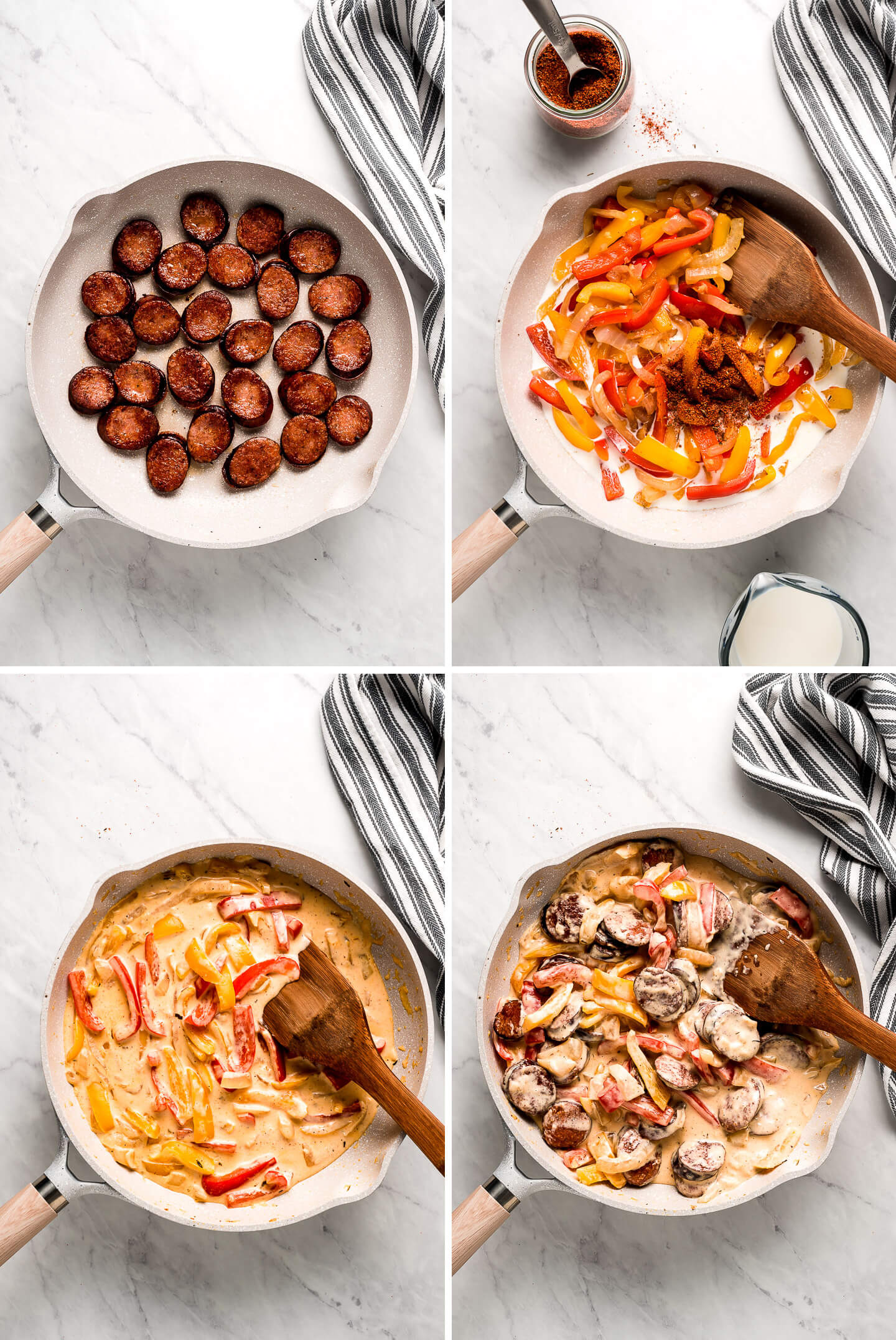 Process shots: Browning smoked sausage, cooking peppers and onions, creamy sauce, all mixed together.